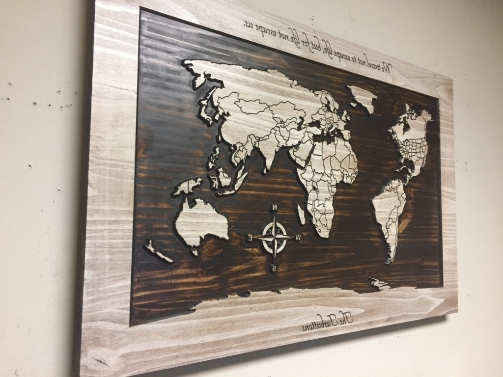 Wood Map Wall Art Inside Favorite Wood Wall Art World Map Carved Wooden With Within And (View 15 of 20)