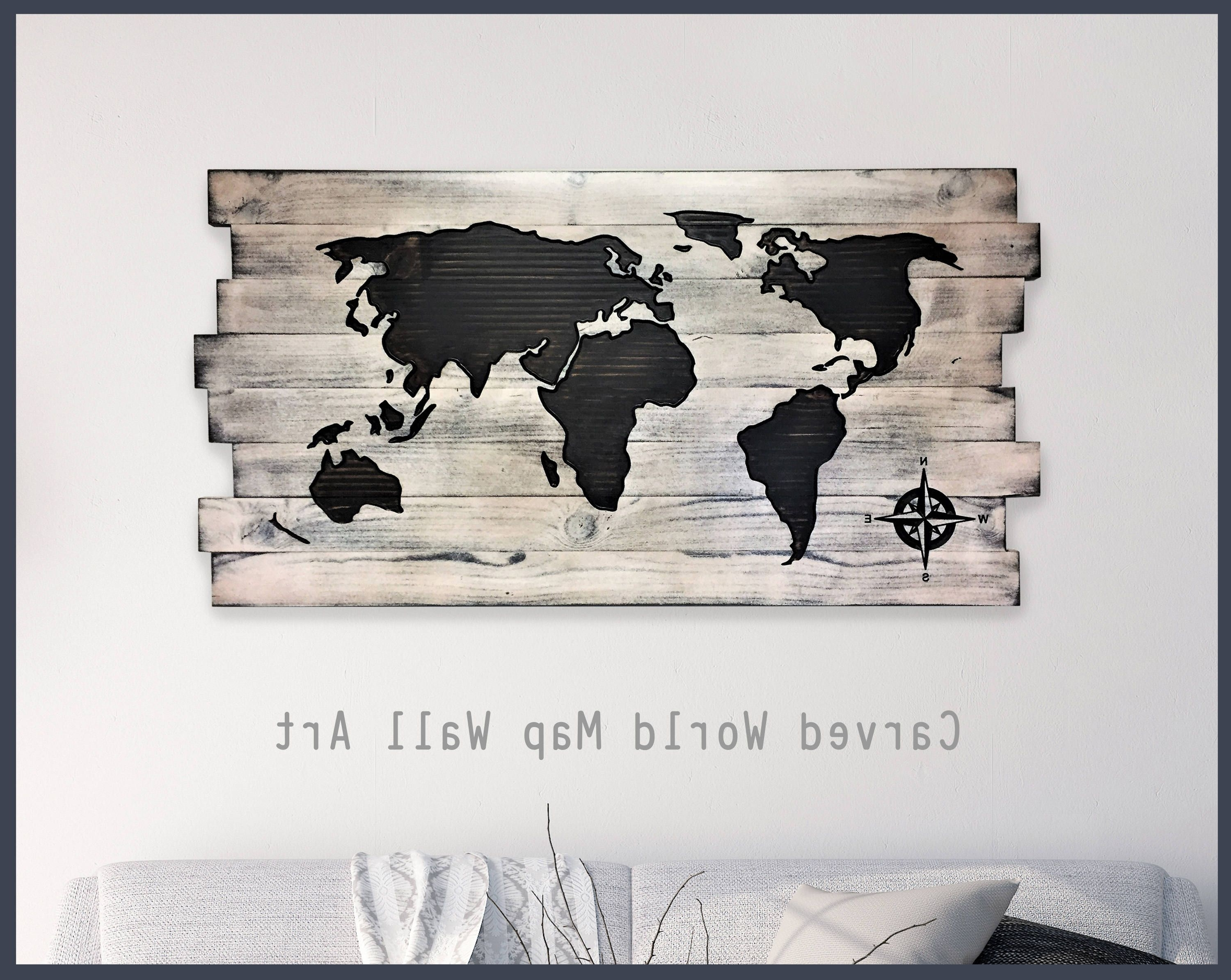 Wood Wall Art, Wood Map, Home Wall Decor, Office Decor, Pallet Map Pertaining To Favorite Wood Map Wall Art (View 17 of 20)