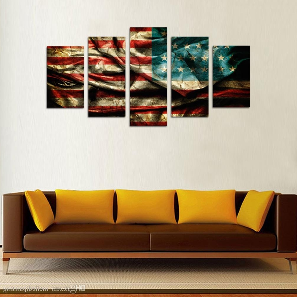 Wooden American Flag Wall Art With Regard To Most Recent 2018 5 Panels Retro American Flag Canvas Painting Wall Art Flag (Gallery 18 of 20)