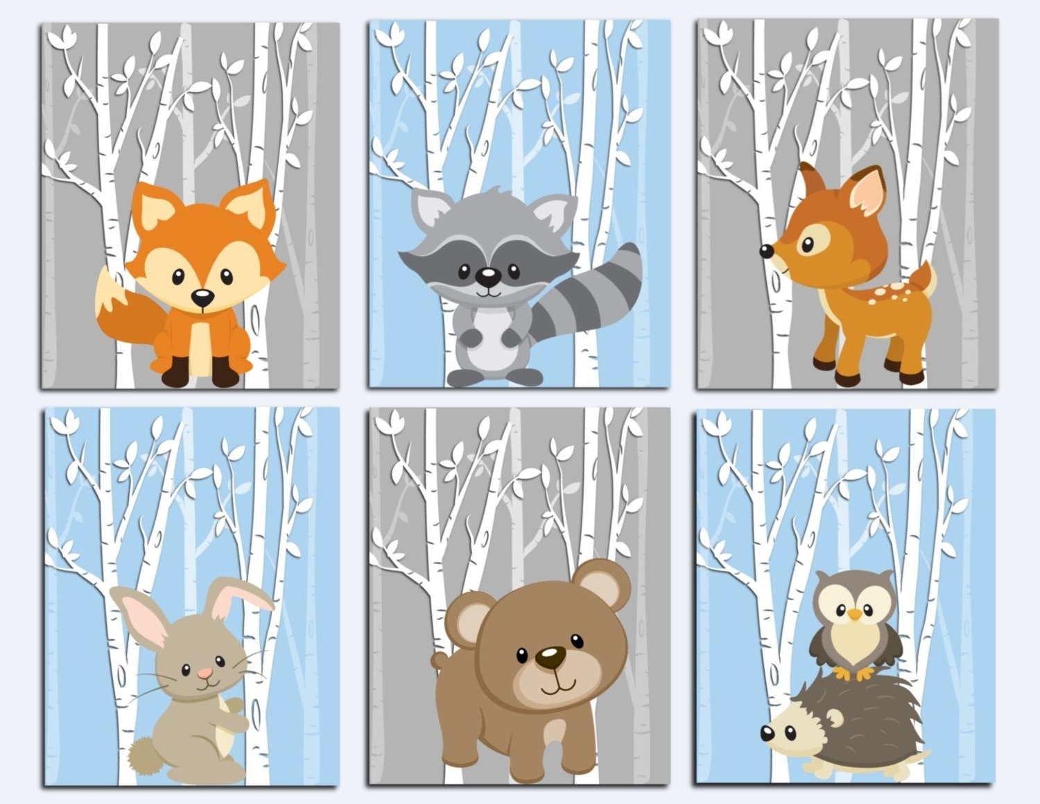 Woodland Nursery Wall Art, Forest Animals Wall Art, Kids Wall Art Pertaining To Most Current Woodland Nursery Wall Art (View 20 of 20)