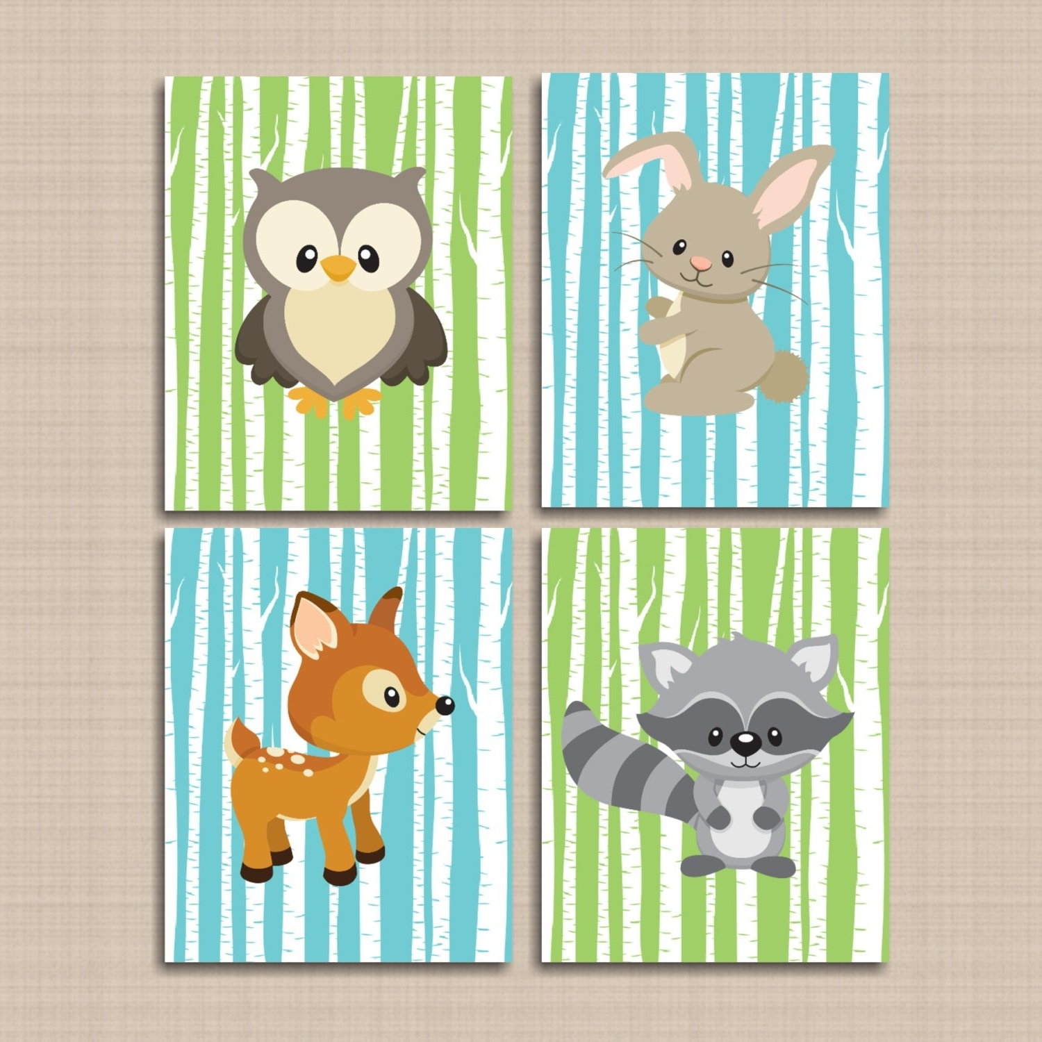Woodland Nursery Wall Art Inside Most Popular Woodland Nursery Wall Art Woodland Tales Decor Forest Friends (Gallery 8 of 20)