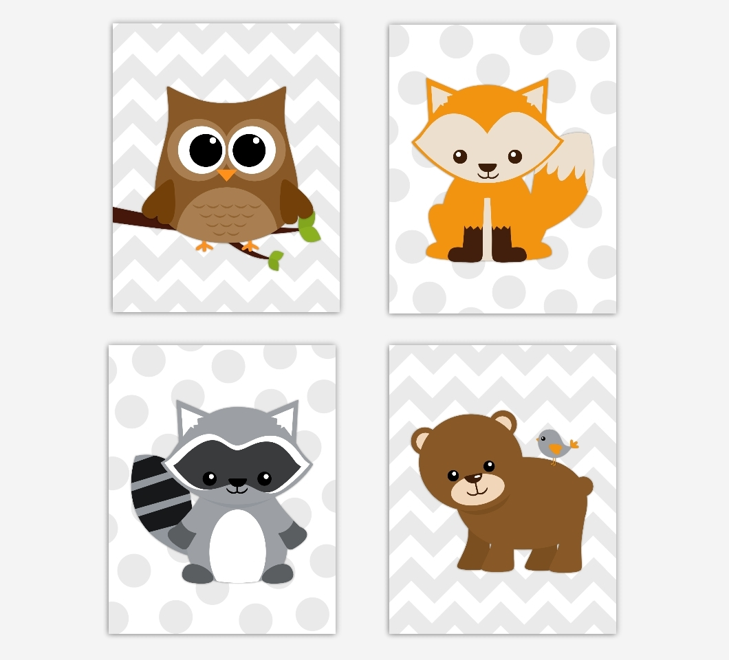 Woodland Nursery Wall Art Throughout Recent Woodland Animals Baby Boy Nursery Wall Art Prints Fox Owl Raccoon (View 16 of 20)