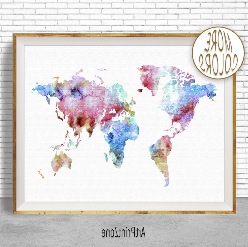 World Map Print World Map Wall Art World Print World Map Poster With Favorite Map Wall Art Prints (Gallery 18 of 20)