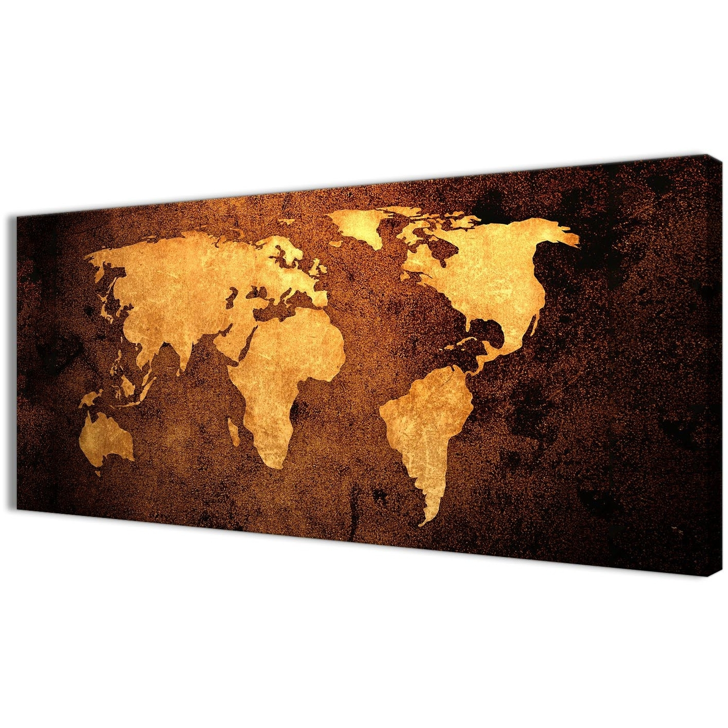World Map Wall Art Canvas For Current Vintage Old World Map – Brown Cream Canvas – Living Room Canvas Wall (View 12 of 20)