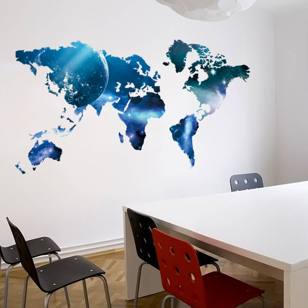 World Map Wall Art For Kids Pertaining To Most Up To Date Big Global Planet World Map Wall Sticker Wall Art Decal Map Oil (View 18 of 20)