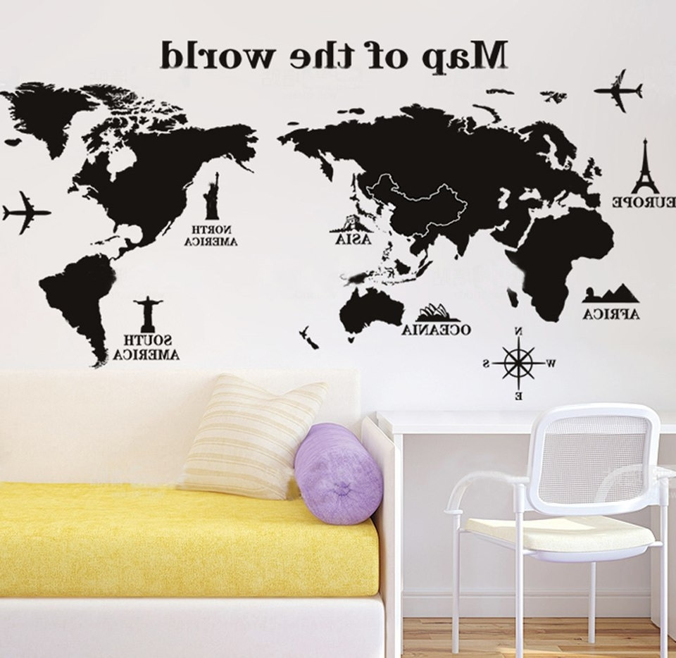 World Map Wall Art For Kids Within Well Known Black And White World Map Wall Sticker Vinyl Art Kids Room Office (View 19 of 20)