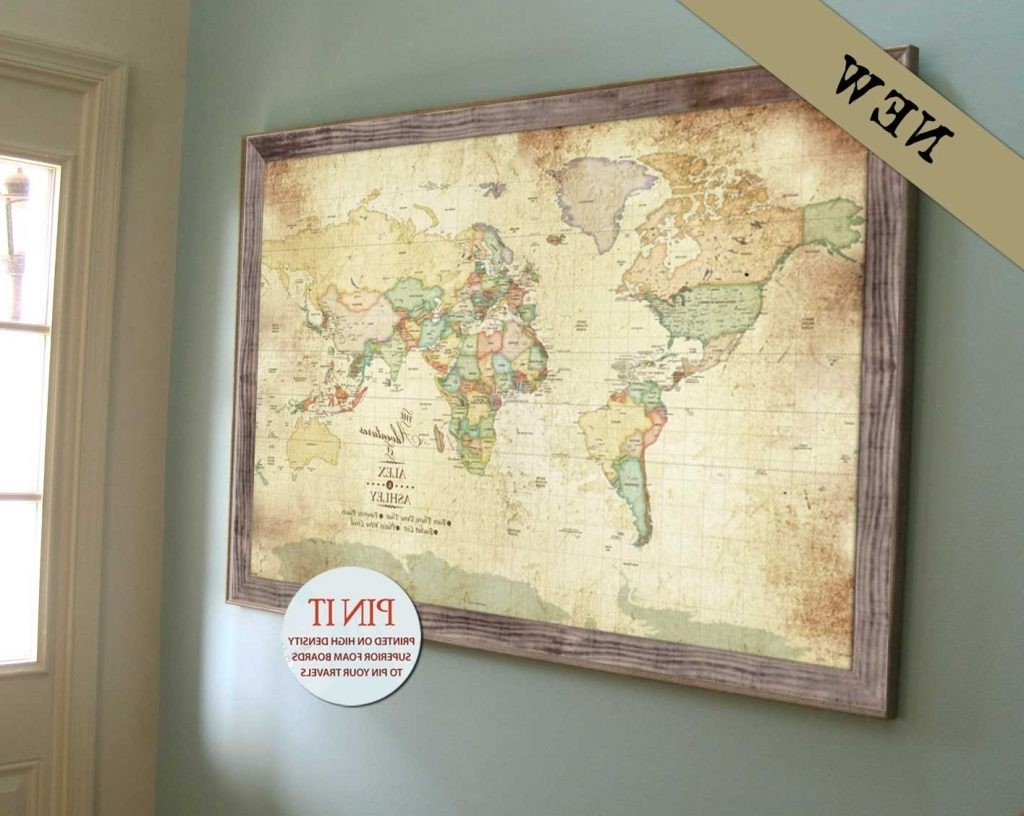 World Map Wall Art Framed With Regard To Recent World Map Wall Art Worldmap Framed Push Pin For Large Fabulous Large (Gallery 7 of 20)