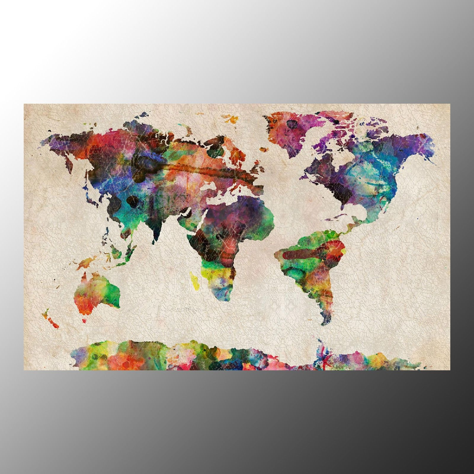 World Map Wall Art Framed With Trendy Canvas Prints For Decoration Wall Art Canvas Printed Colorful World (Gallery 16 of 20)