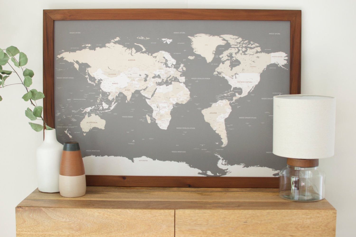 World Map Wall Art Framed With Trendy Push Pin Travel Map World Wall Art And Framed Maps Madriver Me New (Gallery 10 of 20)