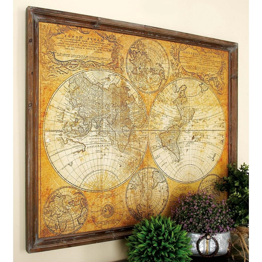 World Map Wall Art Framed Within Widely Used Litton Lane 34 In. X 41 In. Mdf Antique World Map Wall Decor 20327 (Gallery 9 of 20)