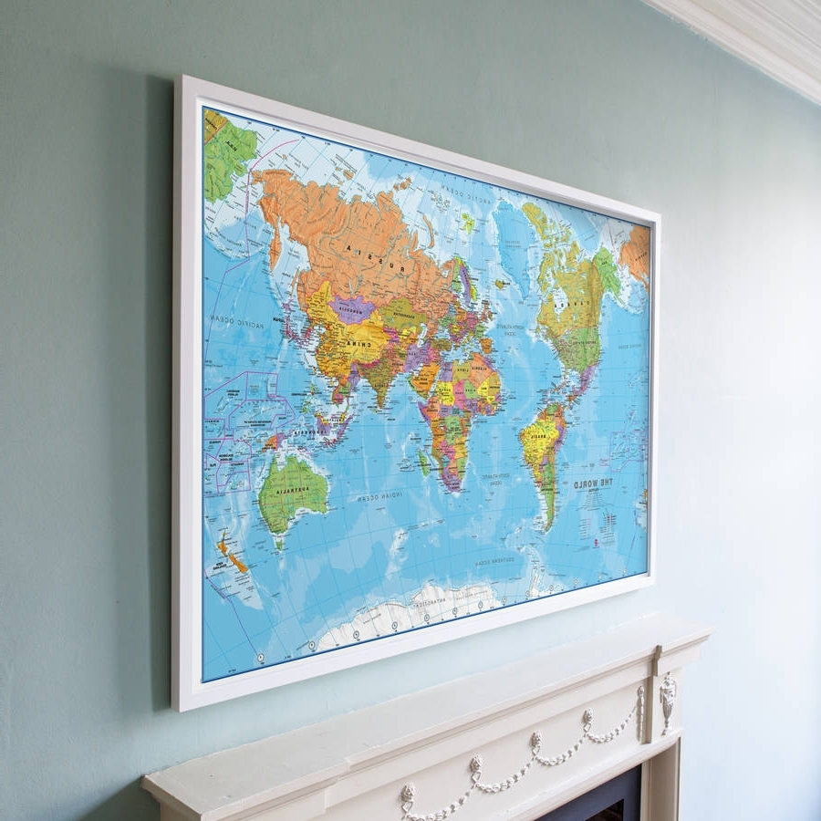 World Map Wall Art Framed (View 16 of 20)