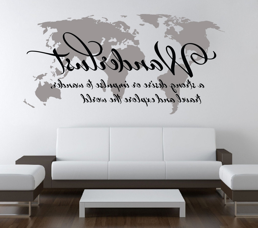 World Map Wall Art With Fashionable Wanderlust Travel Quote World Map Wall Art Decal · Moonwallstickers (View 13 of 15)