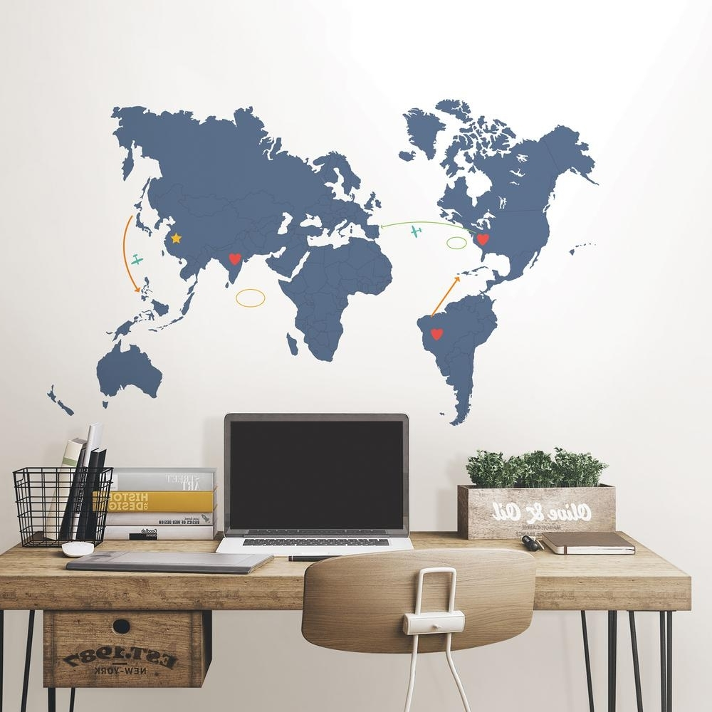 World Map Wall Art With Regard To 2018 Wallpops 48 In. X 72 In (View 14 of 15)
