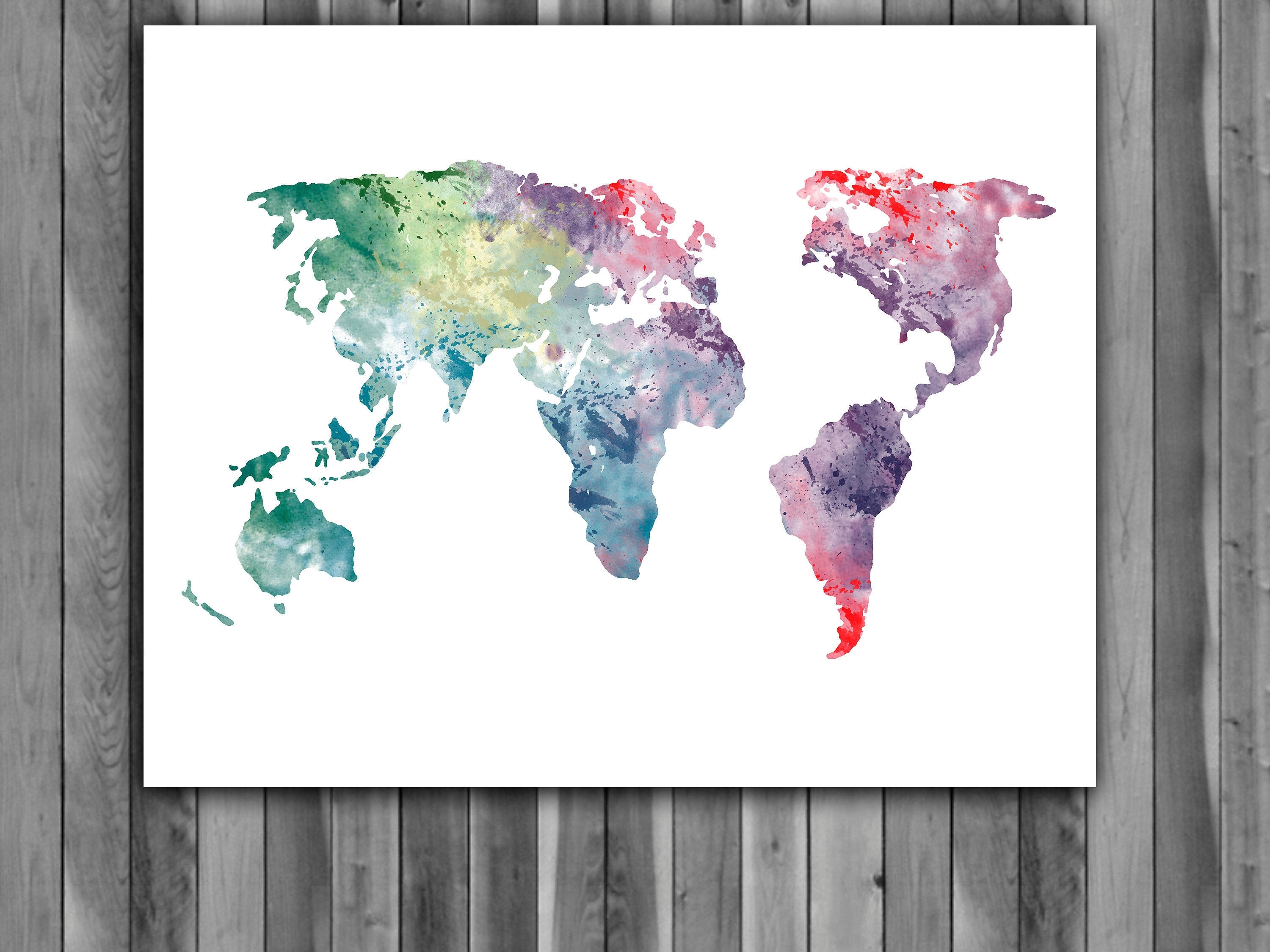 World Map Watercolor Print, World Map Art, World Map Painting, World Throughout Trendy Wall Art World Map (View 20 of 20)