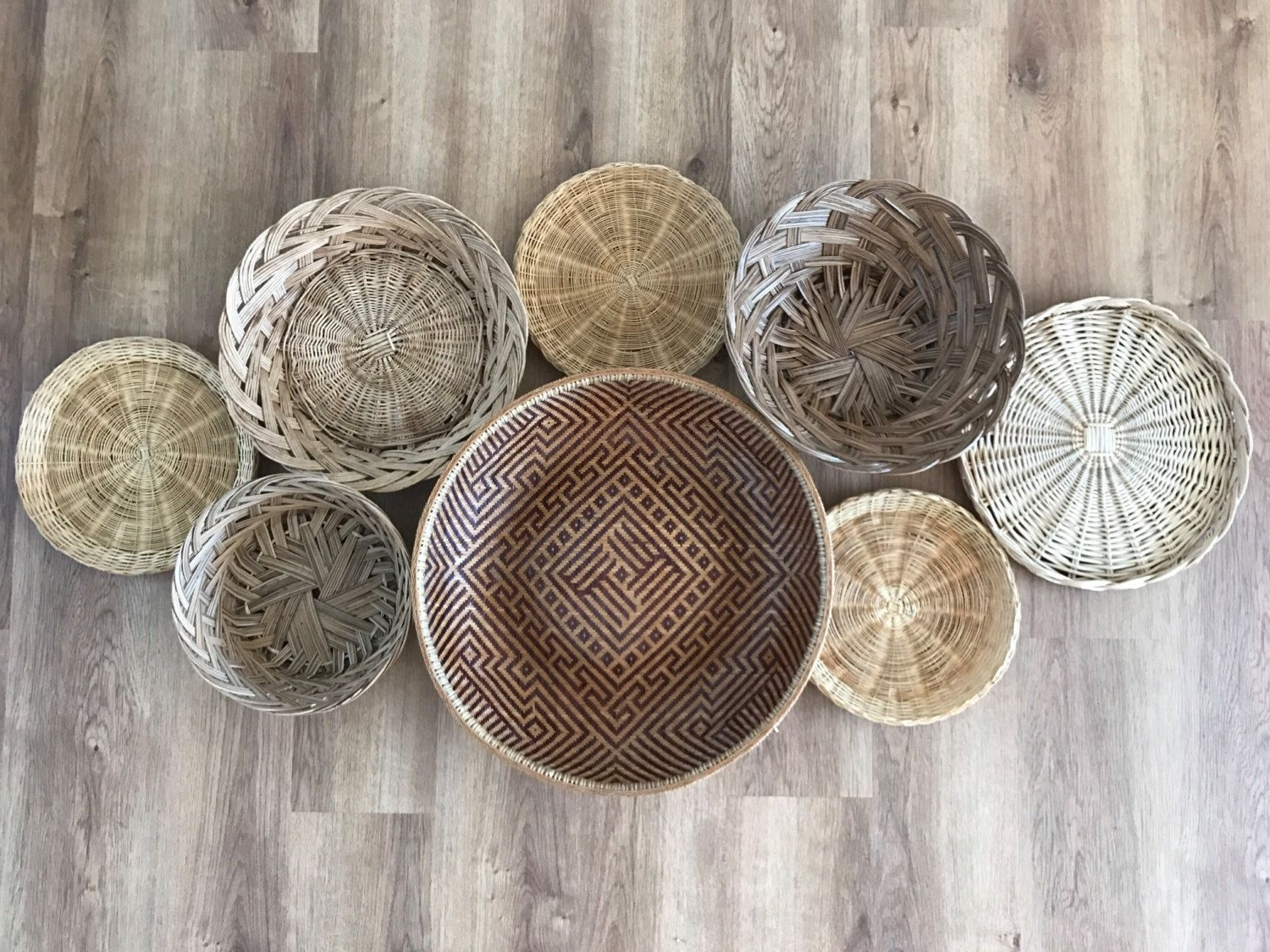Woven Basket Wall Art In Most Popular Boho Vintage Set Of Wicker Rattan Woven Wall Hanging Baskets (View 14 of 20)
