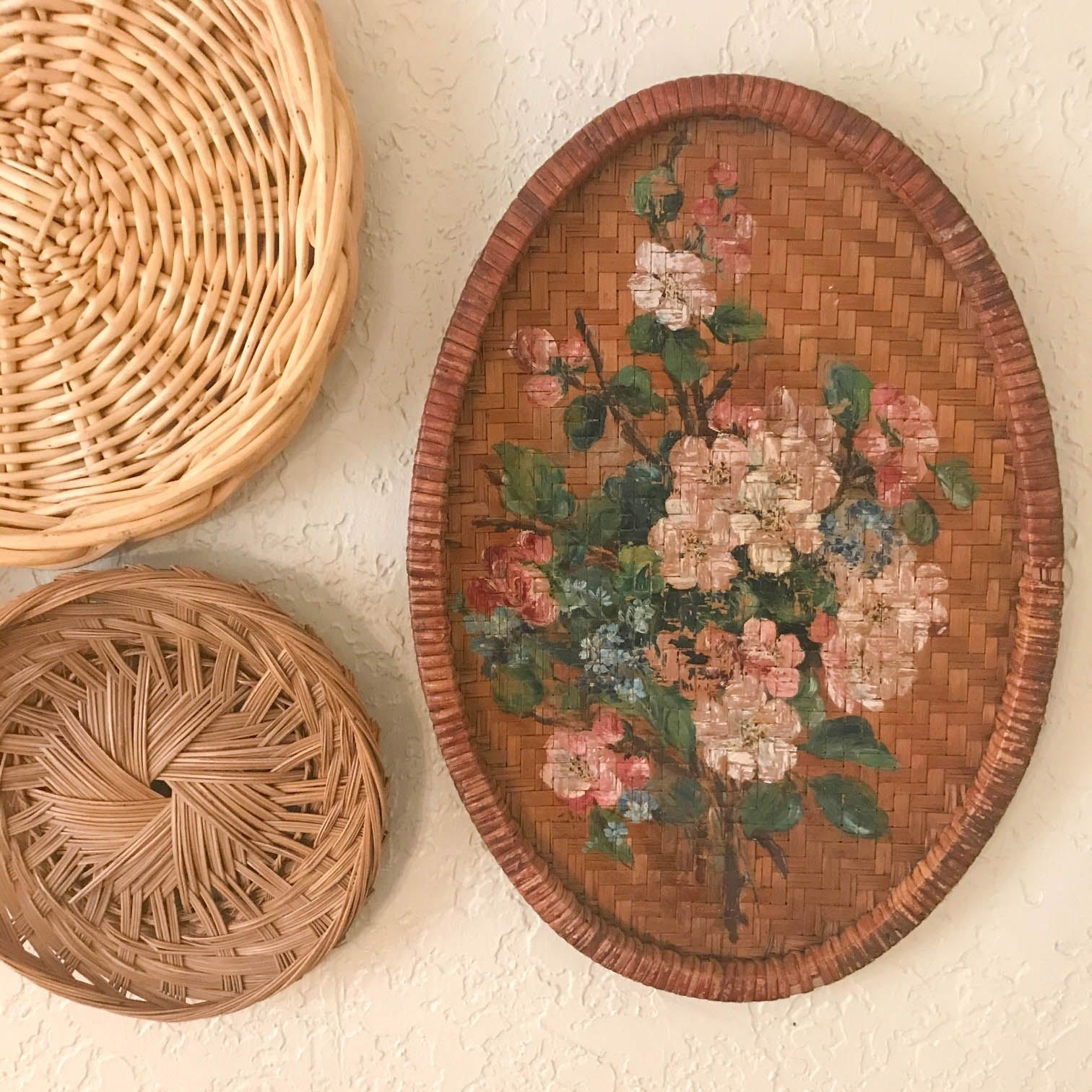 Woven Basket Wall Art Intended For Well Known Vintage Wicker Wall Art, Basket Wall Decor, Painted Wicker Wall (Gallery 16 of 20)