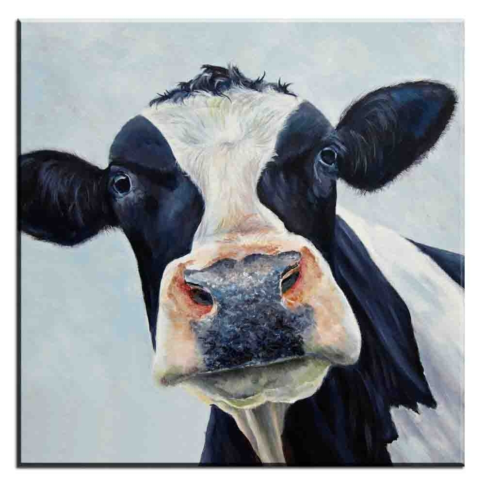 Xdr187 Abstract Canvas Wall Art Picture Colorful Cow Animal Canvas Regarding Fashionable Cow Canvas Wall Art (View 20 of 20)