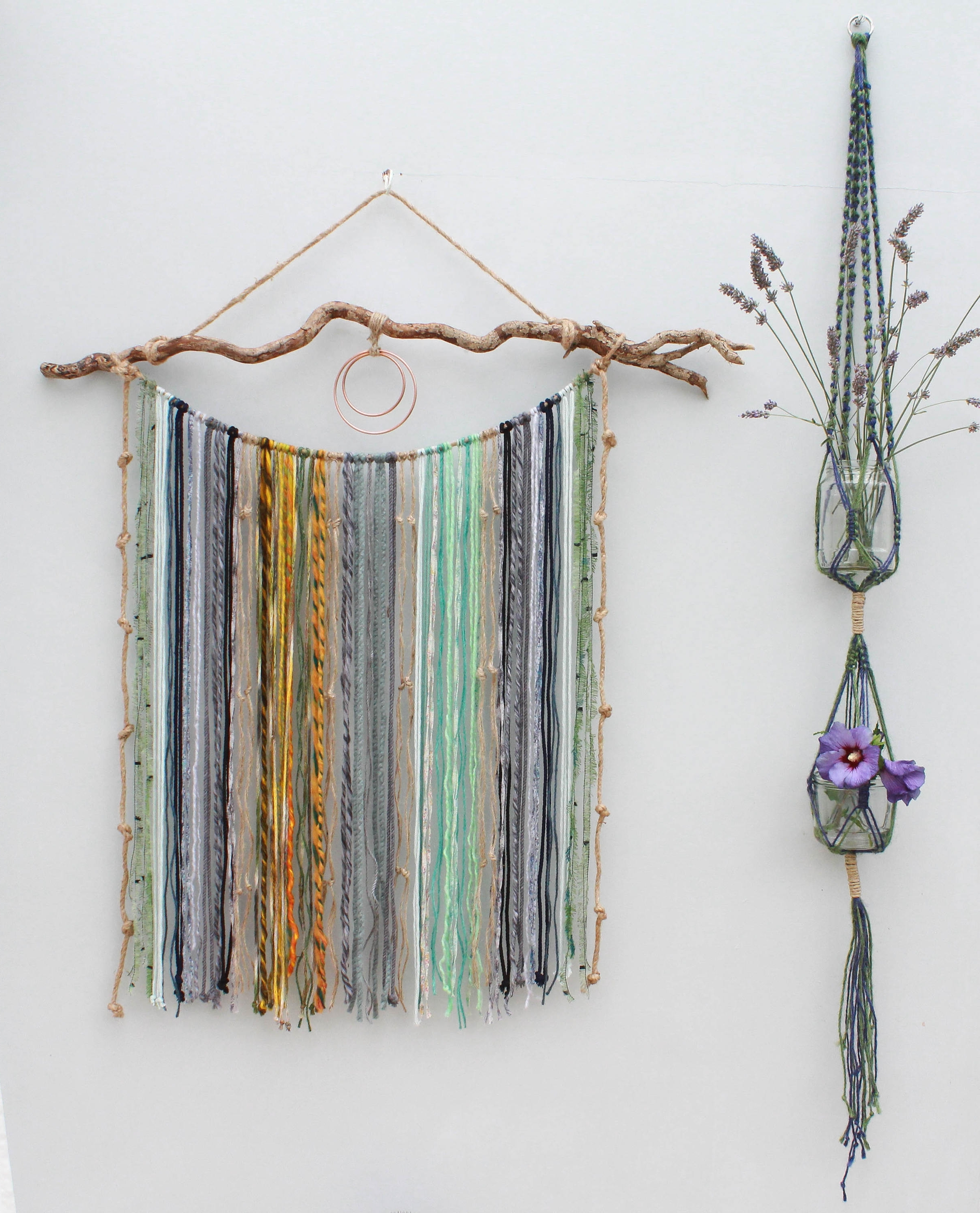 Yarn Wall Art Within 2017 Large Macrame Yarn Wall Hanging On Driftwood/ Mixed Media Hanging (Gallery 20 of 20)