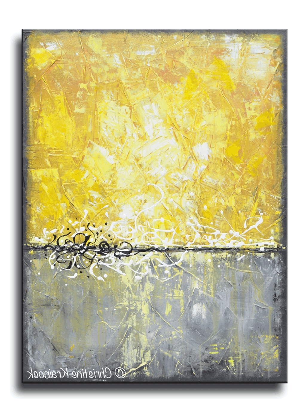 Yellow Canvas Art New Giclee Print Grey Abstract Painting Prints Pertaining To 2017 Modern Abstract Painting Wall Art (Gallery 17 of 20)