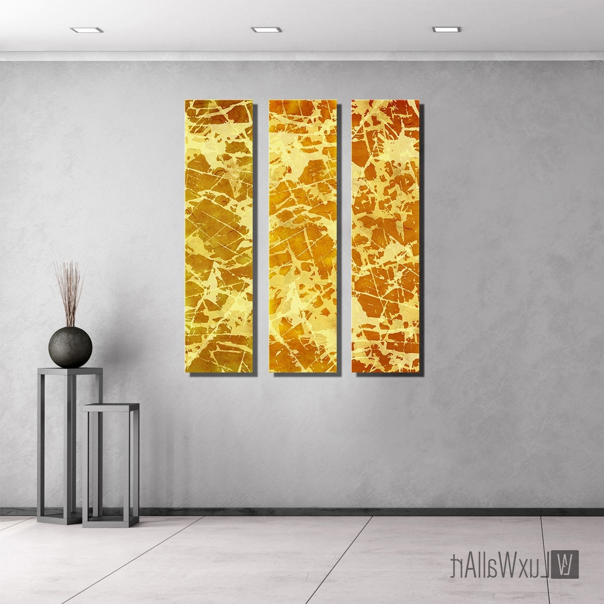 Yellow Wall Art Regarding Most Popular Yellow Gold Large Vertical Thin Panel Metal Abstract Wall Art (Gallery 9 of 20)