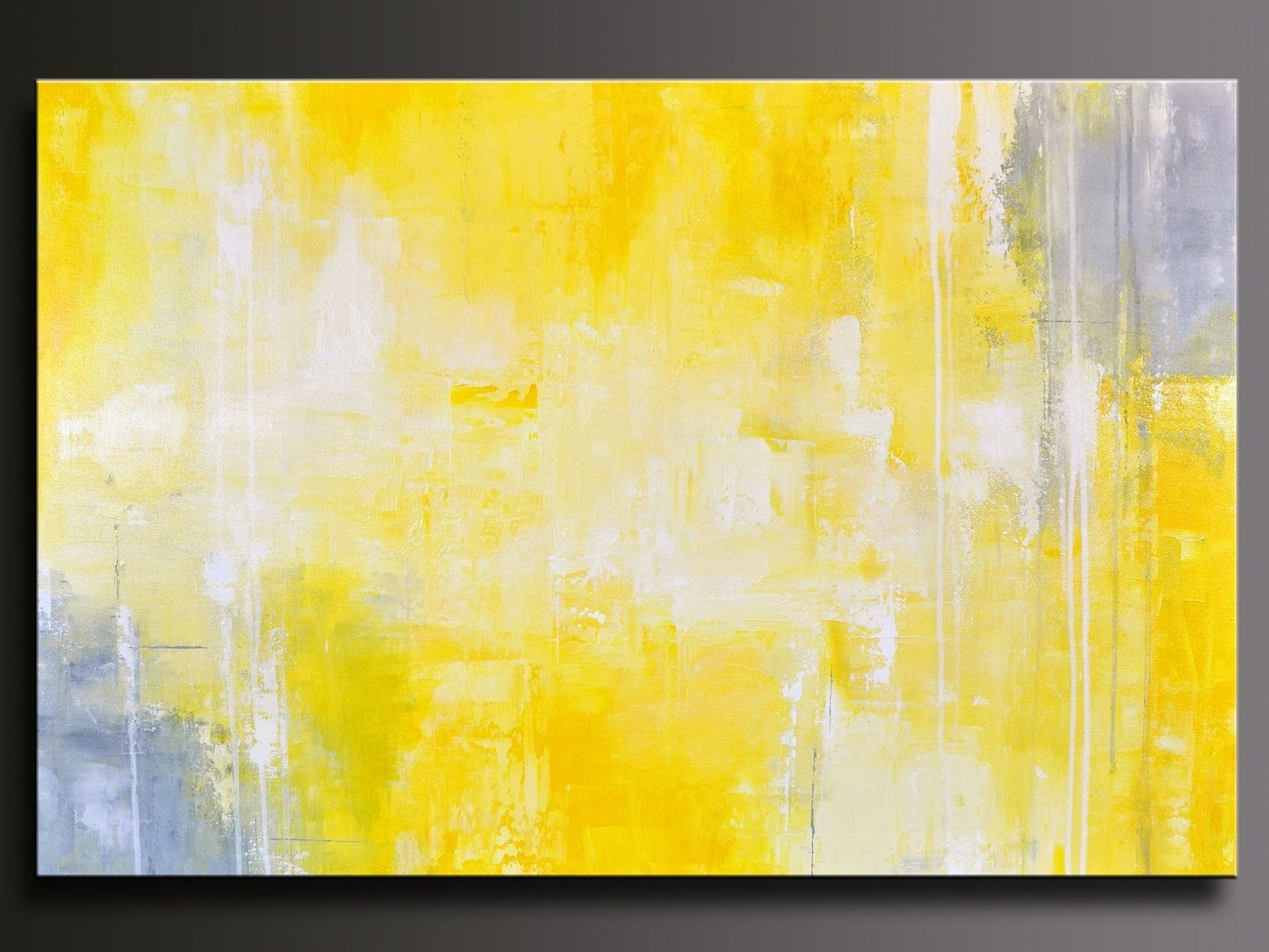 Yellow Wall Art With Regard To Popular Giclee Print Art Yellow Grey Abstract Painting Modern Coastal Wall (View 20 of 20)