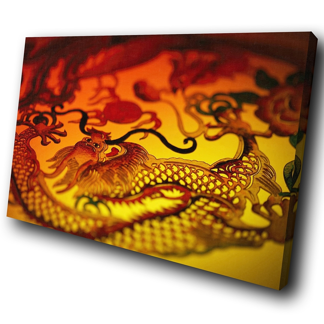 Zab192 Red Chinese Dragon Yellow Modern Canvas Abstract Wall Art Inside Well Liked Chinese Wall Art (View 20 of 20)
