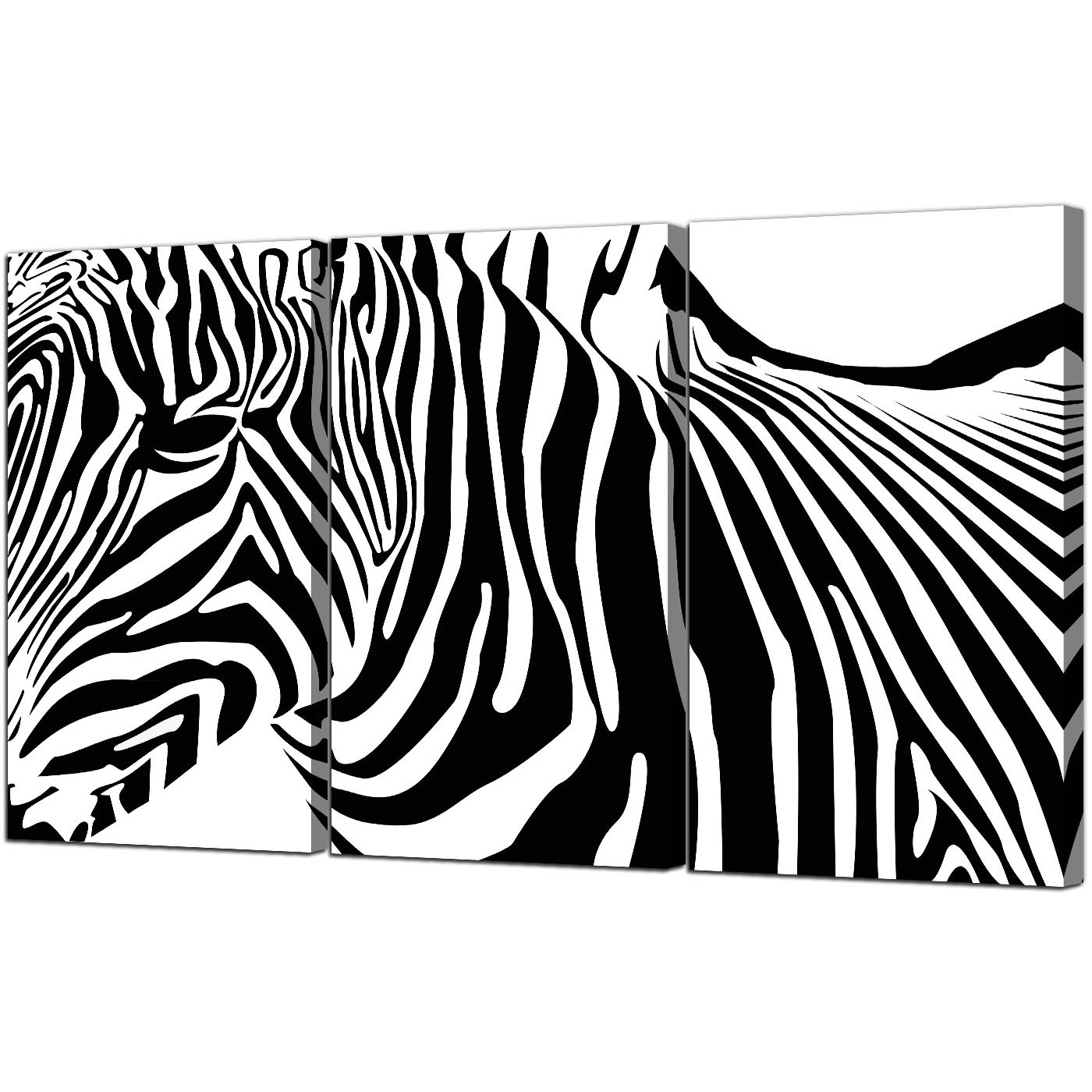 Zebra Canvas Wall Art For Most Up To Date Zebra Canvas Pictures 3 Panel For Your Dining Room (View 13 of 20)