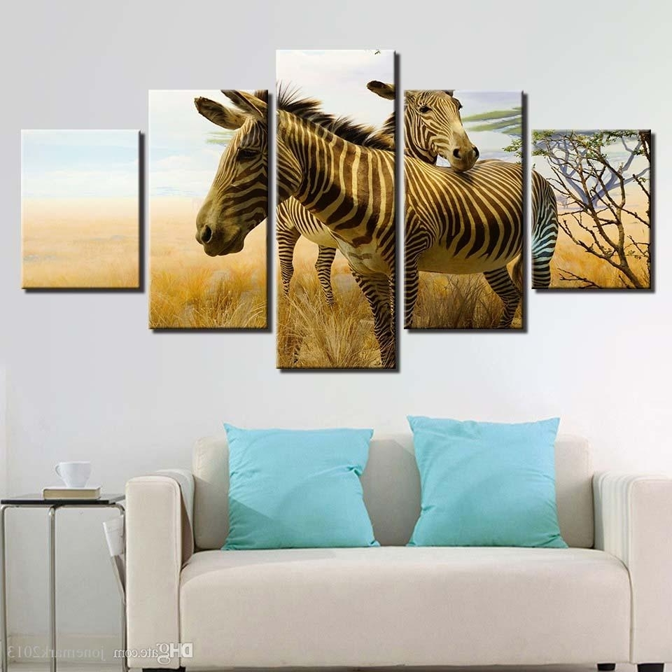 Zebra Canvas Wall Art In Well Liked 2018 Frame Painting Canvas Wall Art Modular Printed Hd 5 Panel (Gallery 13 of 20)