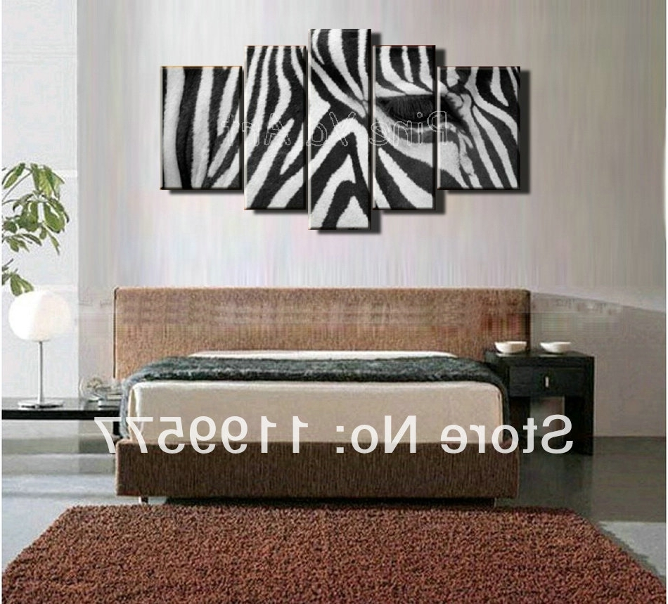 Zebra Canvas Wall Art Pertaining To Current 5 Muti Piece Modern Abstract Wall Art Handmade Black White Zebra (View 16 of 20)