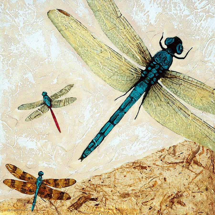 Zen Flight – Dragonfly Artsharon Cummings Paintingsharon Throughout 2018 Dragonfly Painting Wall Art (View 20 of 20)