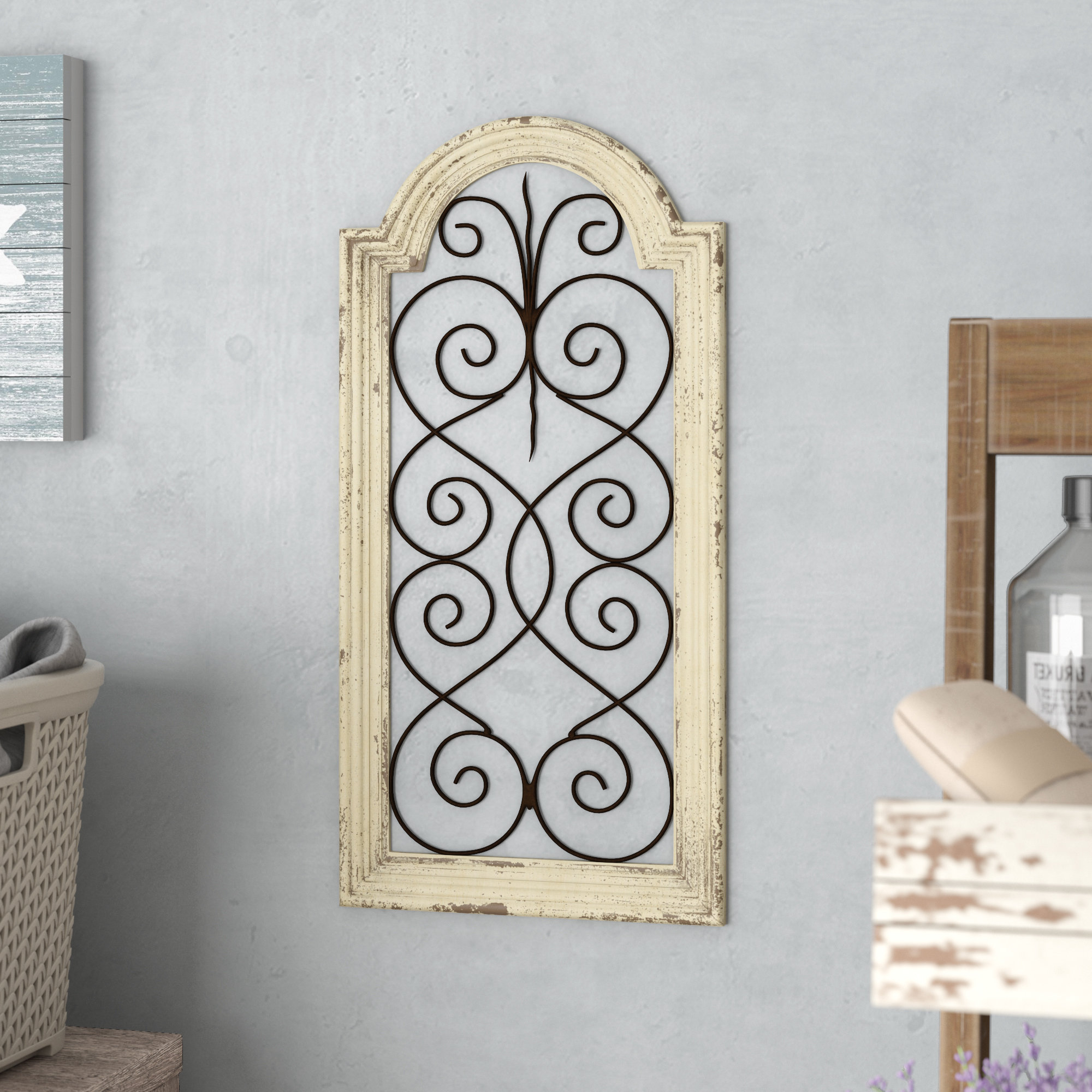 1 Piece Ortie Panel Wall Decor Intended For Most Up To Date Lark Manor Ivory Wood/metal Wall Décor & Reviews (View 2 of 20)