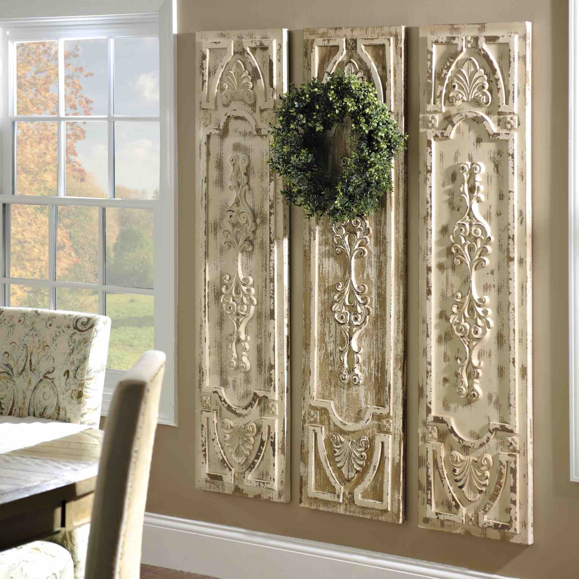 1 Piece Ortie Panel Wall Decor Within Best And Newest Product Details Distressed Vintage Door Wooden Panel In  (View 6 of 20)