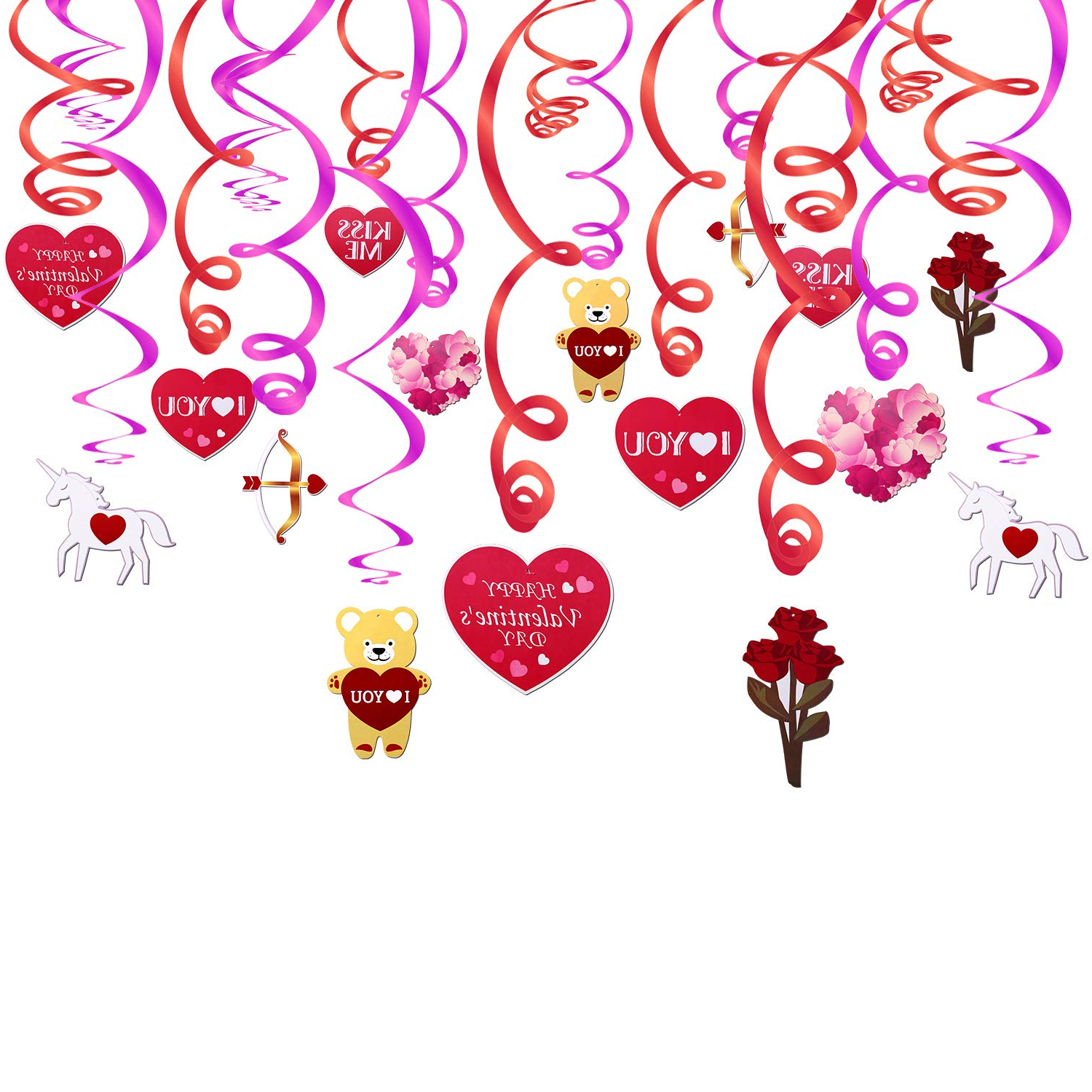 2 Piece Heart Shaped Fan Wall Decor Sets Inside Most Up To Date Amazon: Valentine's Day Decorations,konsait Valentine Hanging (Gallery 8 of 20)