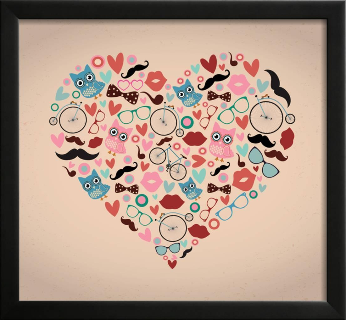2 Piece Heart Shaped Fan Wall Decor Sets Regarding Famous Vector Hipster Doodles Set In Heart Shape Framed Print Wall Art (View 4 of 20)