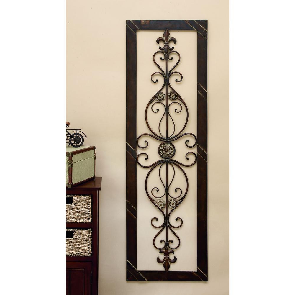 2 Piece Metal Wall Decor Sets By Fleur De Lis Living Pertaining To Trendy Litton Lane Antique Bronze 62 In. Fleur De Lis Wall Decor 96553 (Gallery 11 of 20)