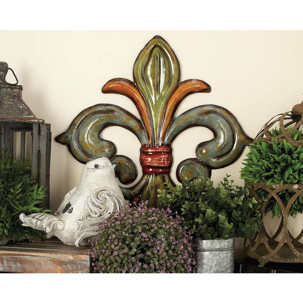 2 Piece Metal Wall Decor Sets By Fleur De Lis Living With Popular Litton Lane Metal Fleur De Lis Wall Decor In Green, Gold And Red (View 2 of 20)