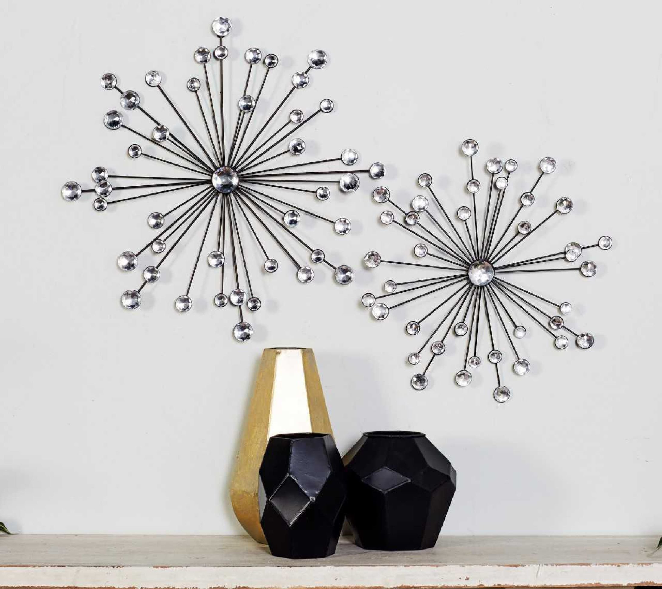 2 Piece Starburst Wall Decor Sets With Regard To Favorite Cole & Grey 3 Piece Metal And Acrylic Wall Décor Set & Reviews (View 2 of 20)