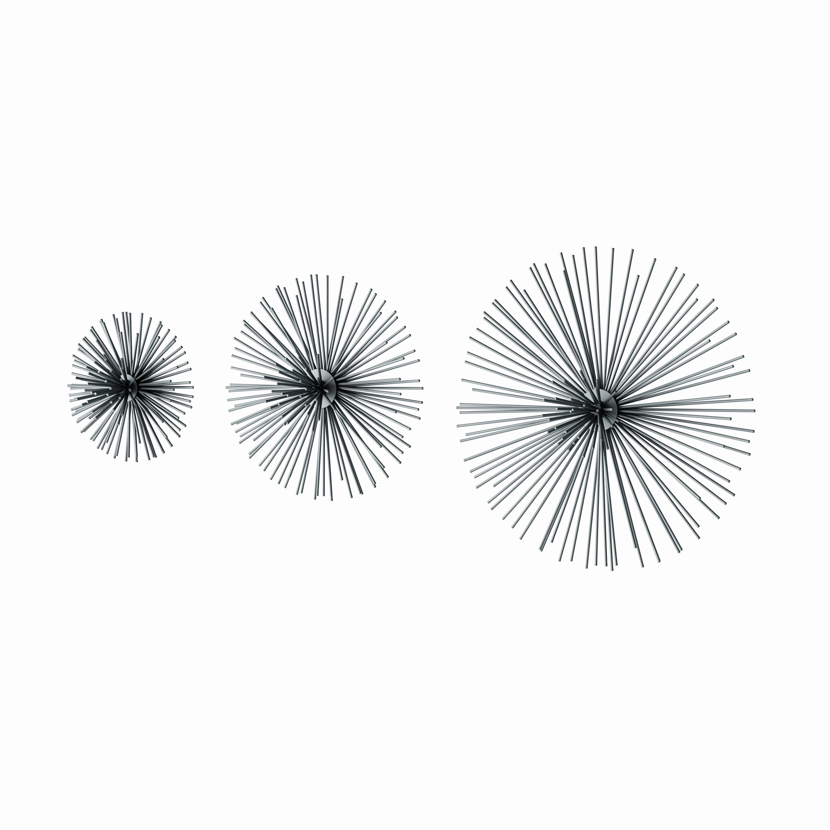2 Piece Starburst Wall Decor Sets Within Well Liked Shop Contemporary 3D Silver Metal Starburst Wall Decor Sculptures (View 3 of 20)
