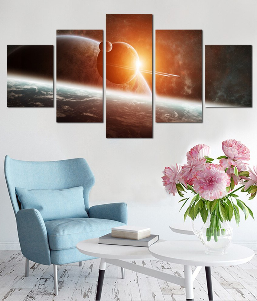 2019 Aurora Sun Wall Decor With 5 Panel Wall Art Aurora Borealis Painting Home Decor Canvas Picture (View 1 of 20)
