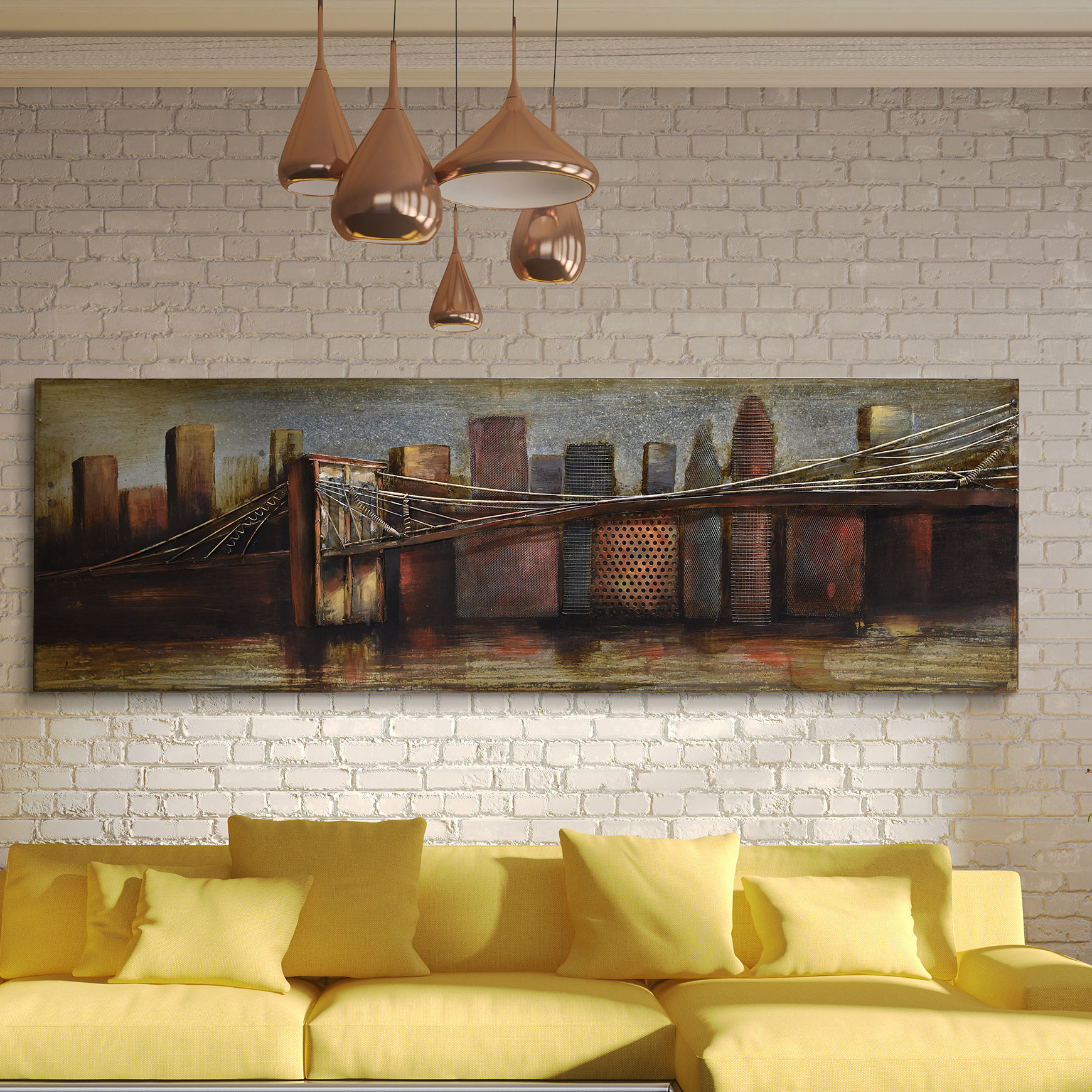 "2019 ""bridge To The City"" Mixed Media Iron Hand Painted Dimensional Wall Decor For Empire Art Direct ""bridge To The City 1"" Mixed Media Iron Hand (View 5 of 20)"