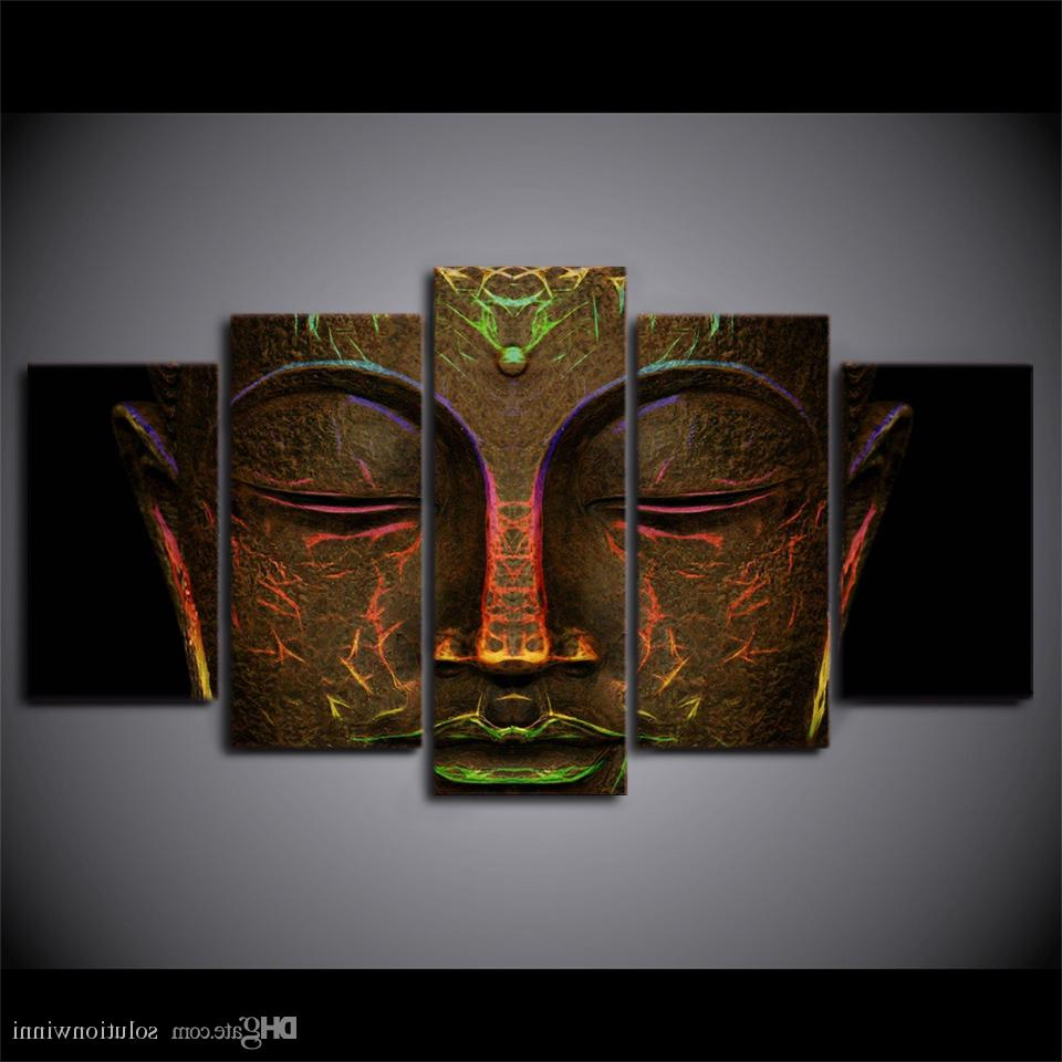 2019 Canvas Pictures Hd Prints Wall Art Metal Buddha Face Paintings Pertaining To Well Liked 2 Piece Heart Shaped Fan Wall Decor Sets (View 10 of 20)