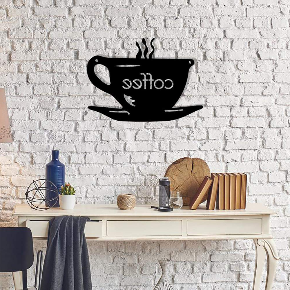 2019 Decorative Three Stacked Coffee Tea Cups Iron Widget Wall Decor In Amazon: Pirudem Rkr Shop Decorative Metal Wall Art A Coffee (View 8 of 20)