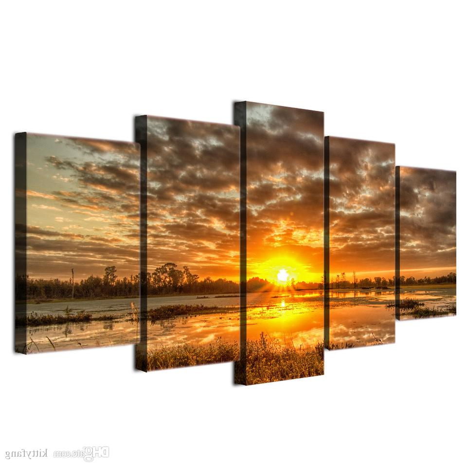 2019 Framed Hd Printed Sunrise Morning Lake Landscape Wall Art In Well Liked 4 Piece Metal Wall Decor Sets (View 17 of 20)