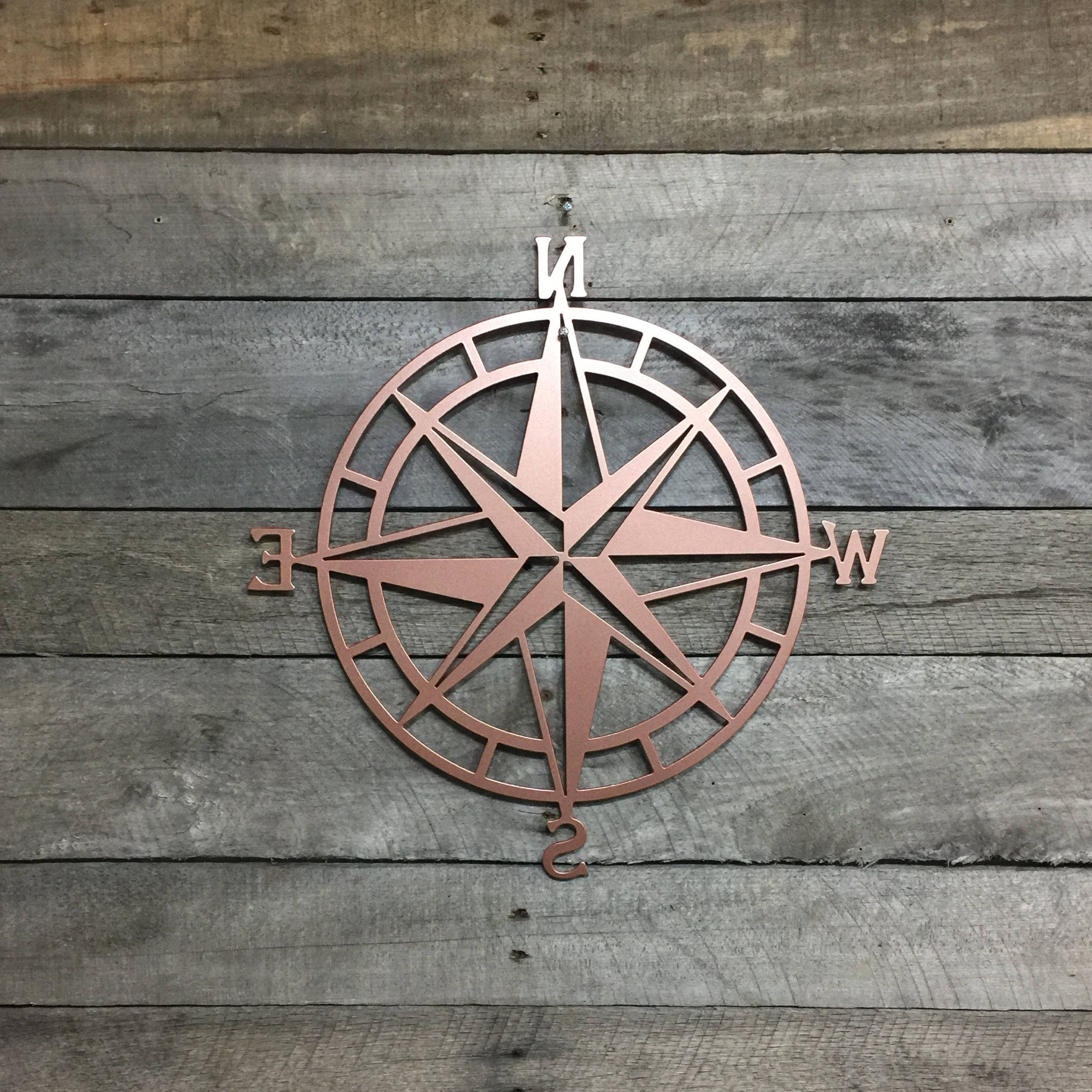 2019 Outdoor Metal Wall Compass Within Metal Compass Rose Nautical Wall Art  Metal Wall Art/ Wall Hanging (View 1 of 20)