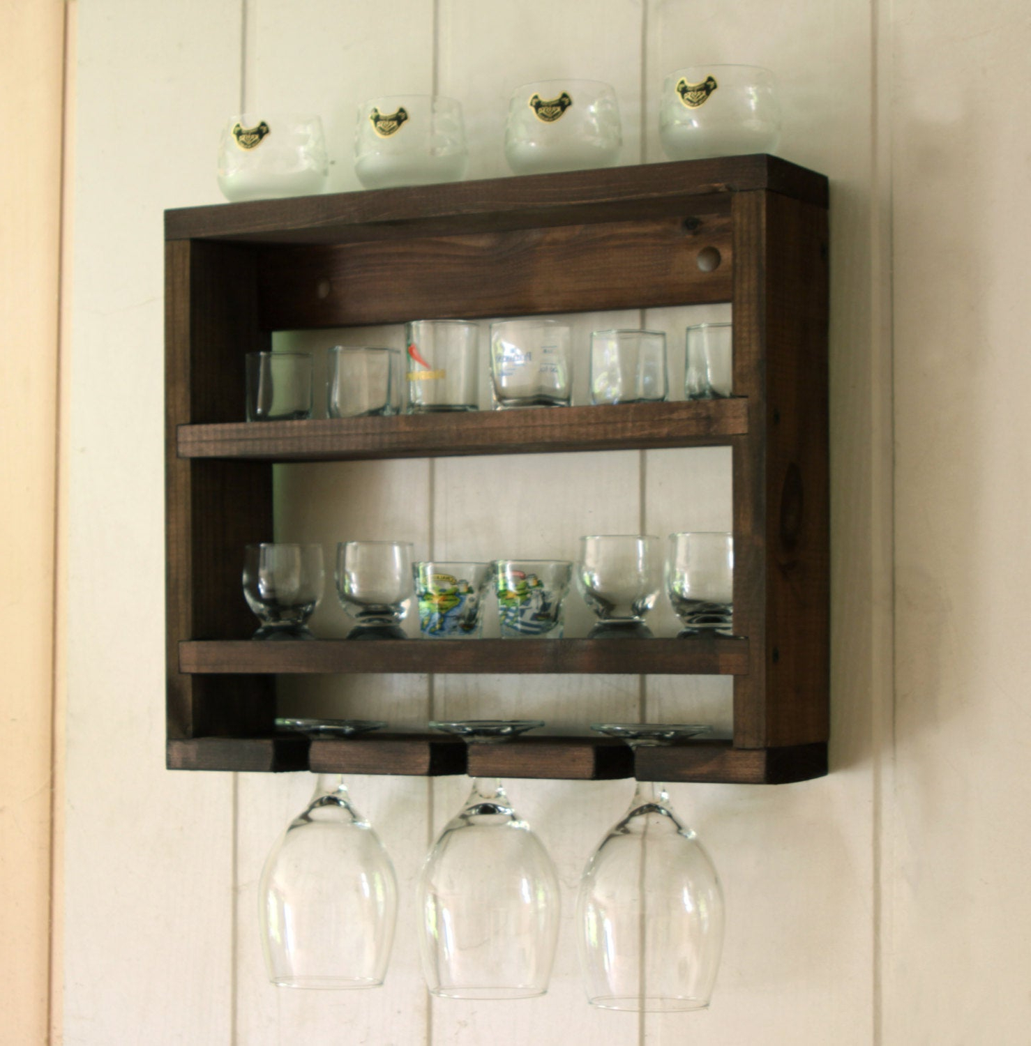 2019 Three Glass Holder Wall Decor For Shot Glass Holder Shot Glass Display Wooden Glass Rack (View 1 of 20)