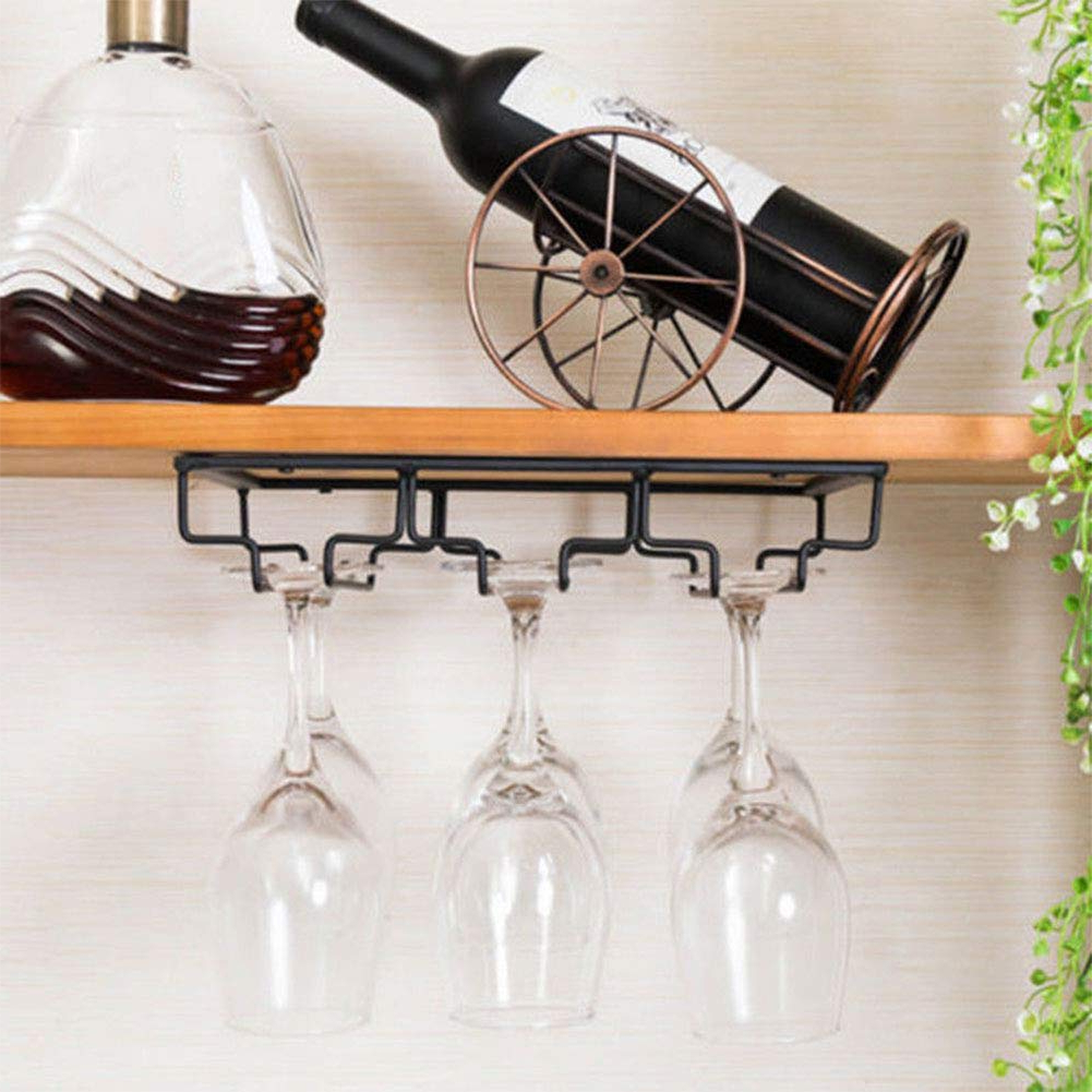 2019 Xuba Iron Wall Mount Wine Glass Hanging 3 Row Holder Goblet Stemware Inside Three Glass Holder Wall Decor (View 2 of 20)