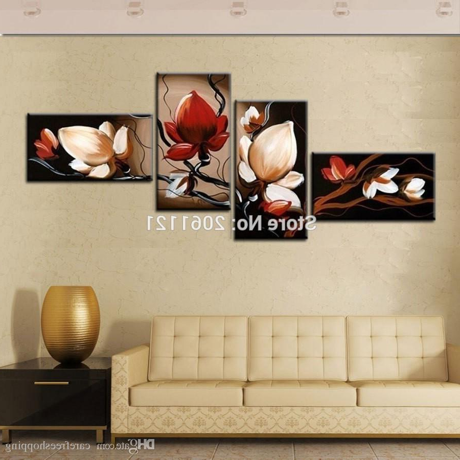 2020 2019 Best Sale Dark Red Flower Art Canvas Painting Oil Cheap Wall Inside 4 Piece Wall Decor Sets (Gallery 17 of 20)