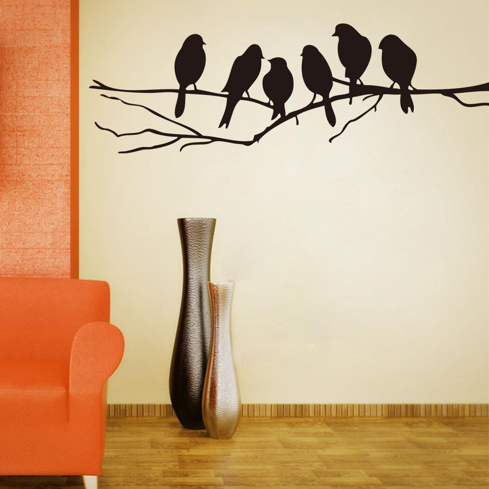 2020 Birds On A Branch Wall Decor With Wall Art Mural Decor Sticker Black Cute Birds On The Branch Wall (Gallery 1 of 20)
