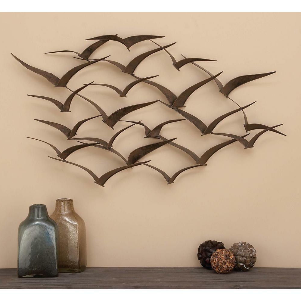 2020 Brown Iron Flying Birds Wall Decor Modern Metal Wall Art Sculpture In Brown Wood And Metal Wall Decor (View 19 of 20)