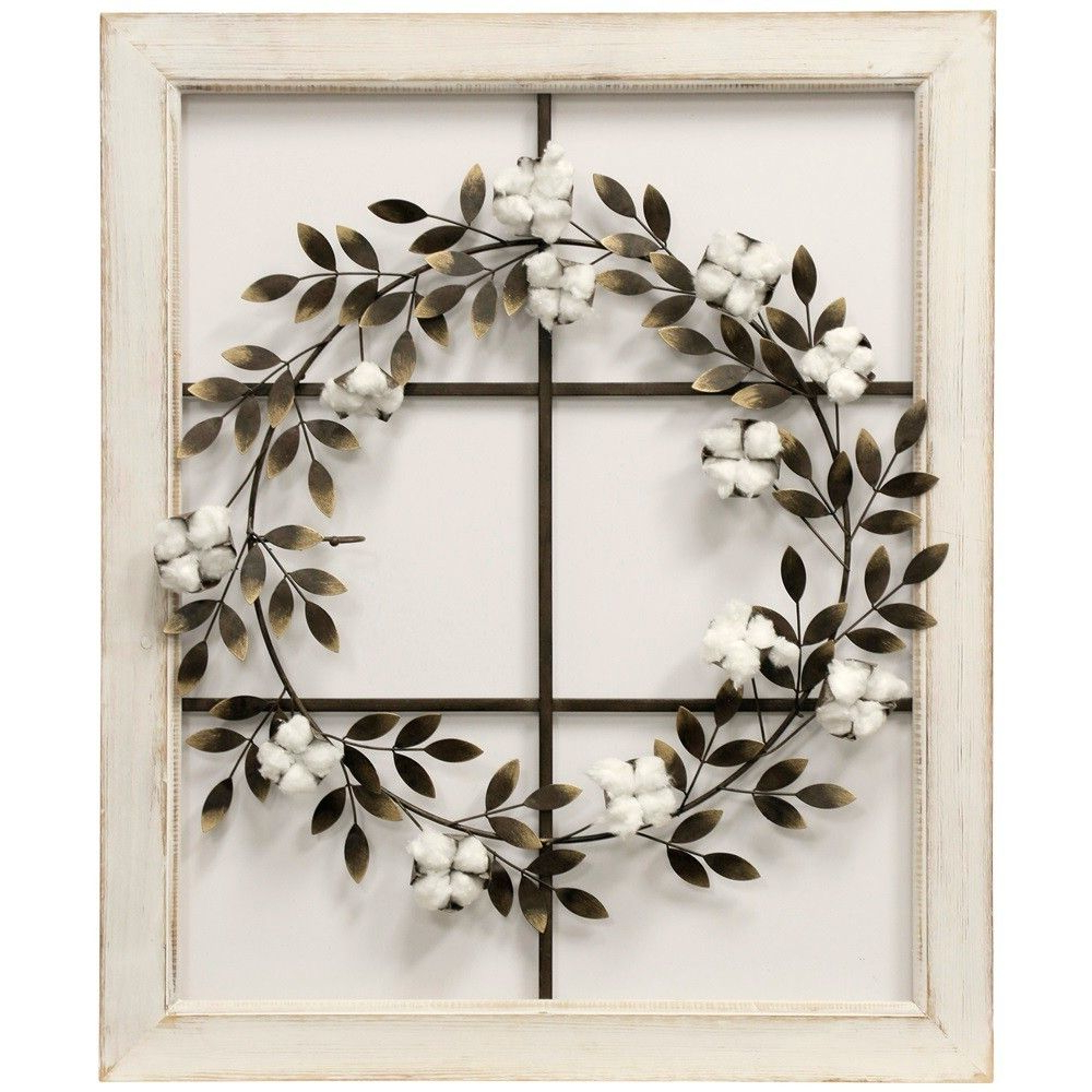 2020 Floral Wreath Wood Framed Wall Decor Within  (View 1 of 20)